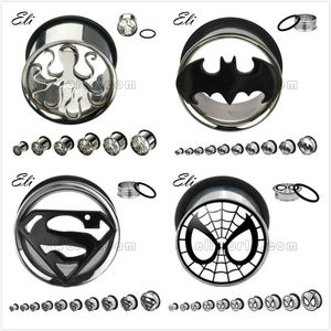 316L Surgical Stainless Steel Cut Out Octopus/Batman/Superman/Spiderman Logo Single Flared Ear Tunnel