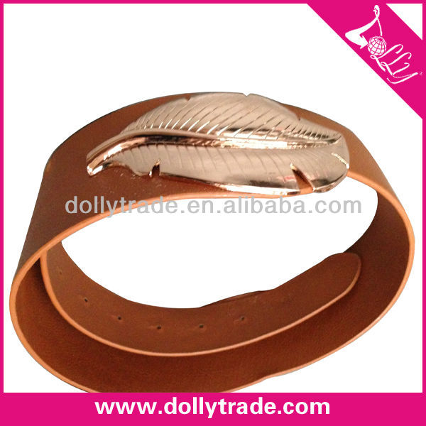 Alloy Leaf Buckle Fancy Women Decorative PU Leather Dress Belt Leather