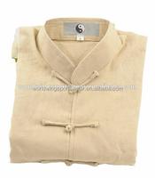 Unisex 100% cotton spandex apricot Taichi chinese traditional Kungfu uniform taiji clothes