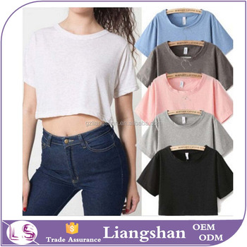Oem Wholesale New Womens Crop Top Plain Loose O Neck T Shirt Casual