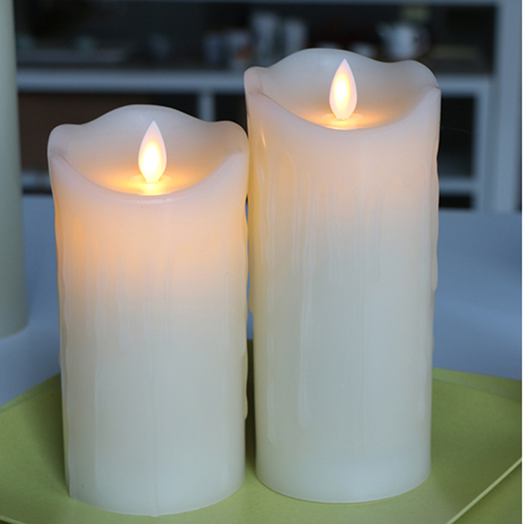 pillar candle with real wax battery operated moving flame candle light led