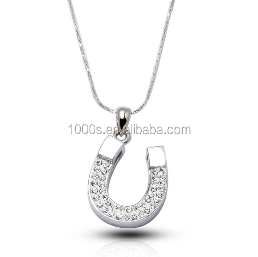 Free Sample Dropshipping 2016 plain design gift jewelry, 925 sterling silver with crystal horseshoe charm