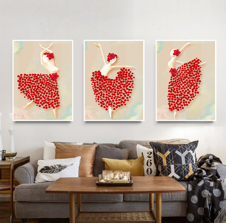 European Decorative Modern Simple Ballet Dancer Painting For Living Room Hotel Dining Wall