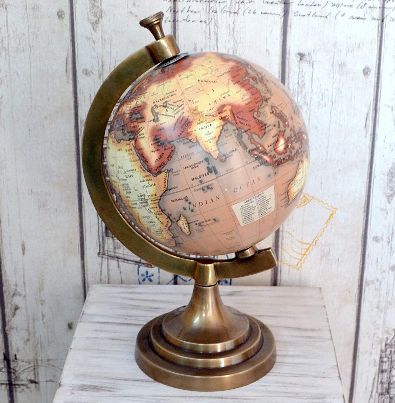 Decor Art International Antique Brass Aluminium World Map Globe Rotating Vintage Reproduction Gift Item.