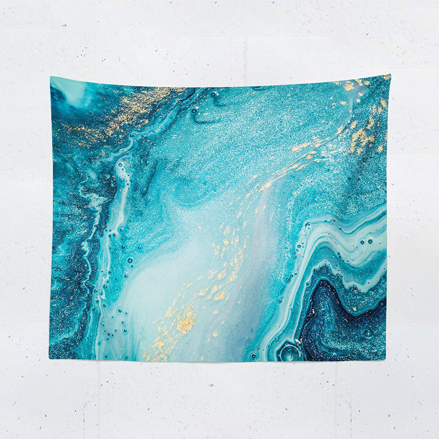 Blue Gold Marble Wall Tapestry - Abstract Stone Modern Contemporary Tapestries Hanging Décor Bedroom Dorm College Living Room Home Art Print Decoration - Printed in the USA - Small Medium Large