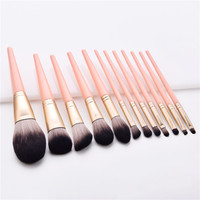 New Cruelty Free Good Quality 12 Piece Fashion Powder Liquid Makeup Brushes Set Pink 2019 No Logo