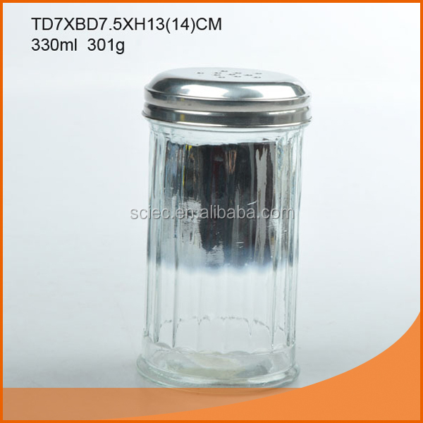 345ml glass spice bottle/ glass cruet/ glass spice jar with metal cover