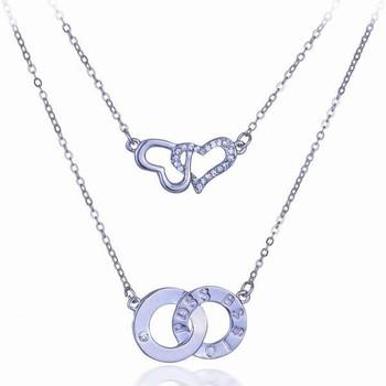 Yiwu duoying jewelry factory double heart necklacecircle pendant yiwu duoying jewelry factory double heart necklace circle pendant meaning together aloadofball Choice Image