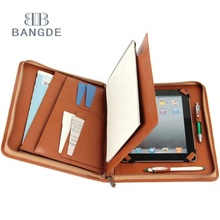 Bruin miniipad Leather Portfolio Case <span class=keywords><strong>A5</strong></span> Kleine <span class=keywords><strong>Padfolio</strong></span> met Cover Pad voor Carrying mini Apple