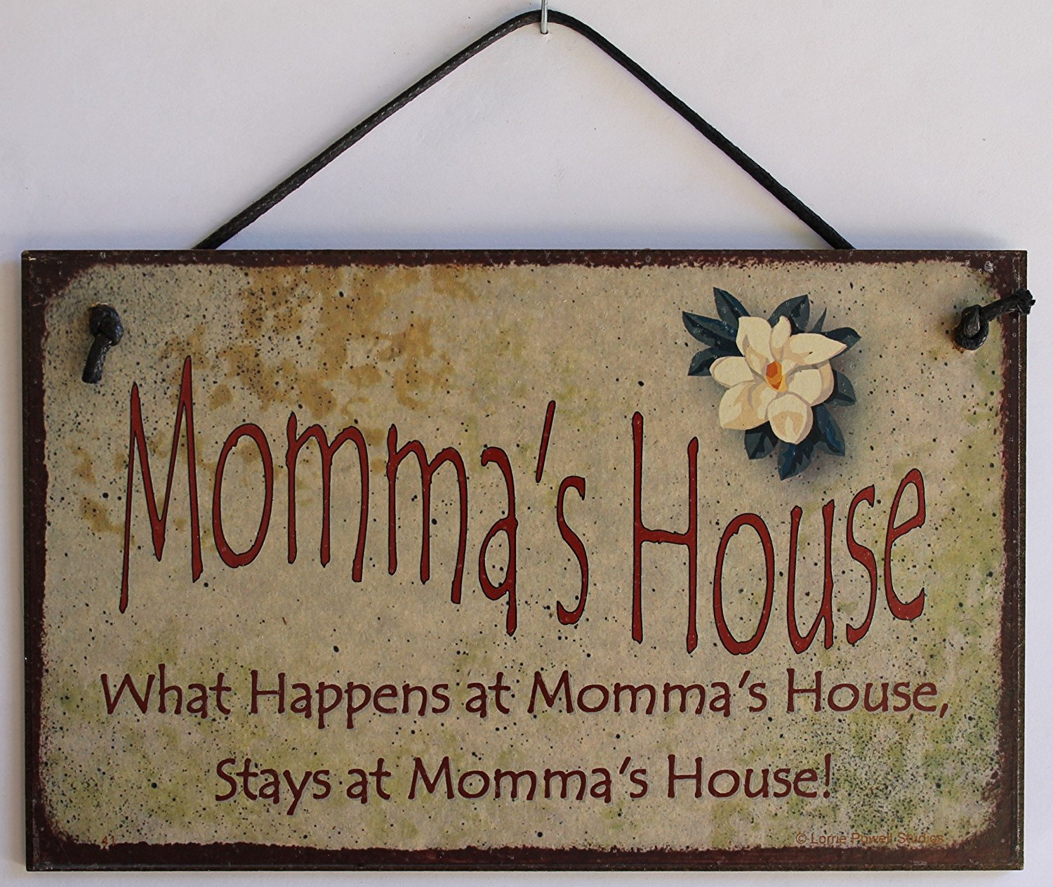 "5x8 Vintage Style Sign with Magnolia Saying, ""Momma's House What Happens at Momma's House, Stays at Momma's House!"" Decorative Fun Universal Household Signs from Egbert's Treasures"