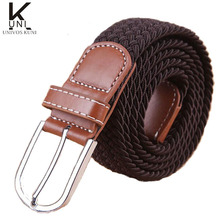 2014 New Fashion Elastic Waistband Woven Canvas Belt Men Women Wild Casual Belt Buckle Korean Strap T173