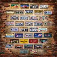 Embossed metal car plate wall arts wholesale tin metal signs for party home club restaurant decorations