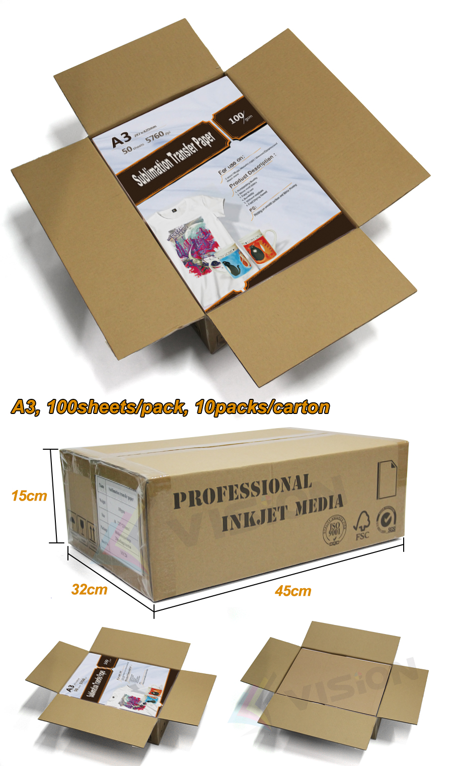 A3 size sublimation paper for use with our entire range of desktop sublimation printers