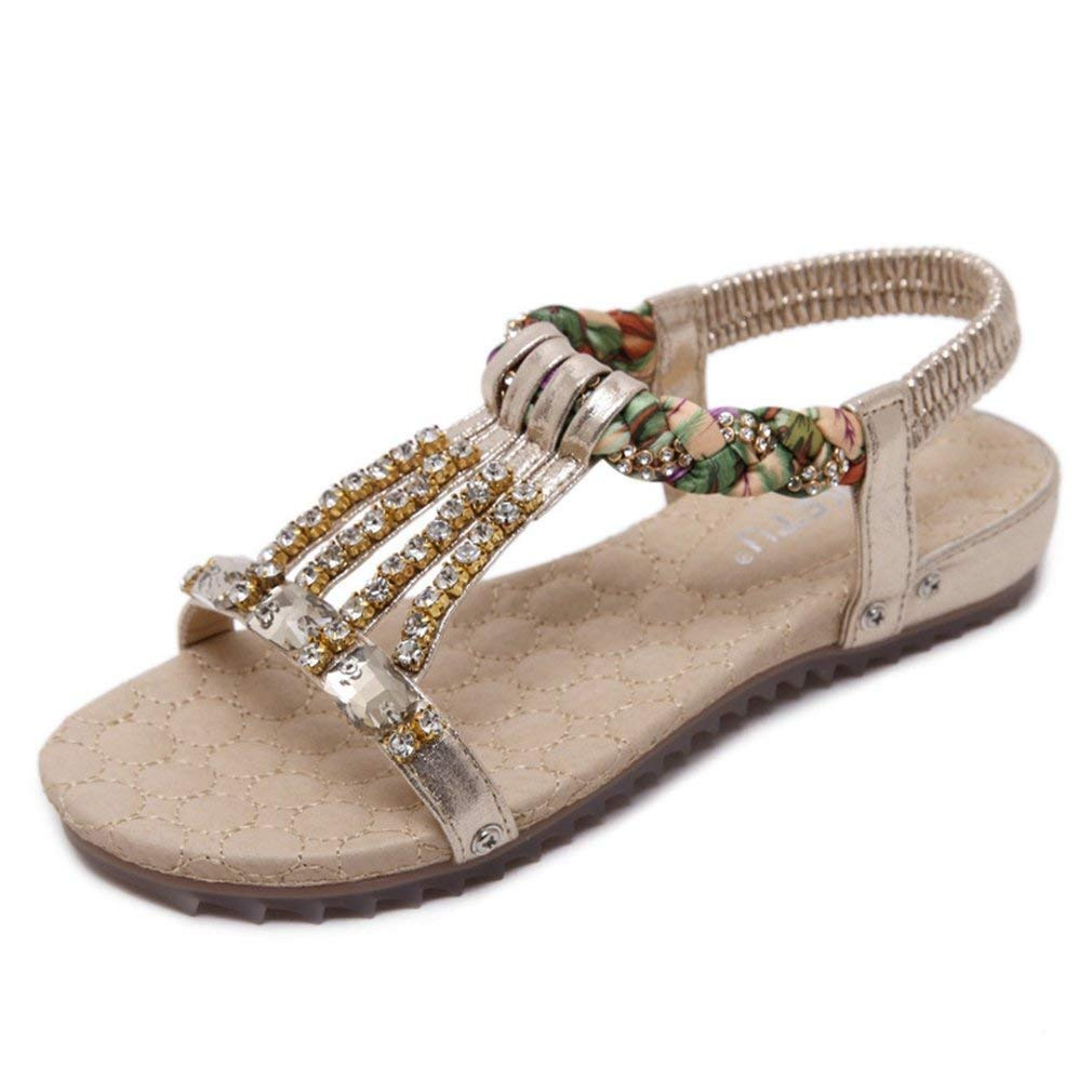 c0ffdd37c Get Quotations · AVENBER Women s Flat Sandals Sparkly Rhinestones Bohemian  Braided Strap Slip On Ankle Dressy Shoes