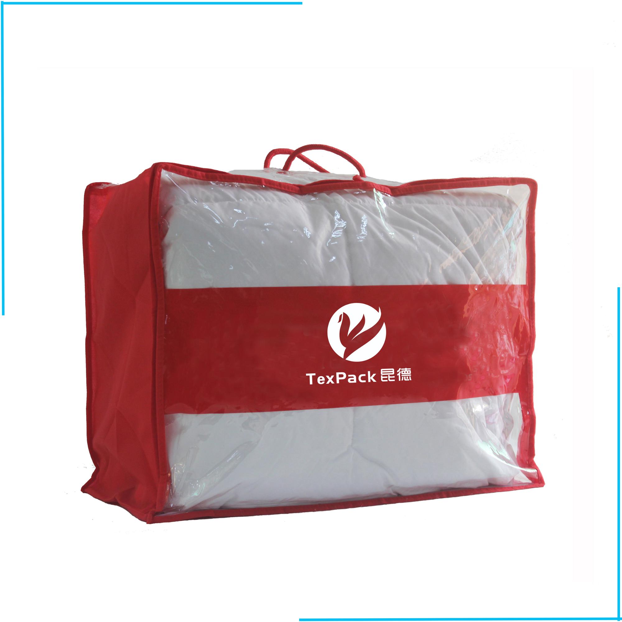 Clear Plastic Pvc Zipper Quilt Package Bag For Bedding