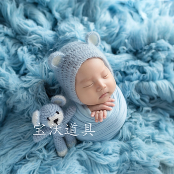 Blue Newnorn Flokati Fur Blanket Fluffy  Baby Rug Newborn Posing Blanket Photography Props Beanbag Covering Layer Photo Props