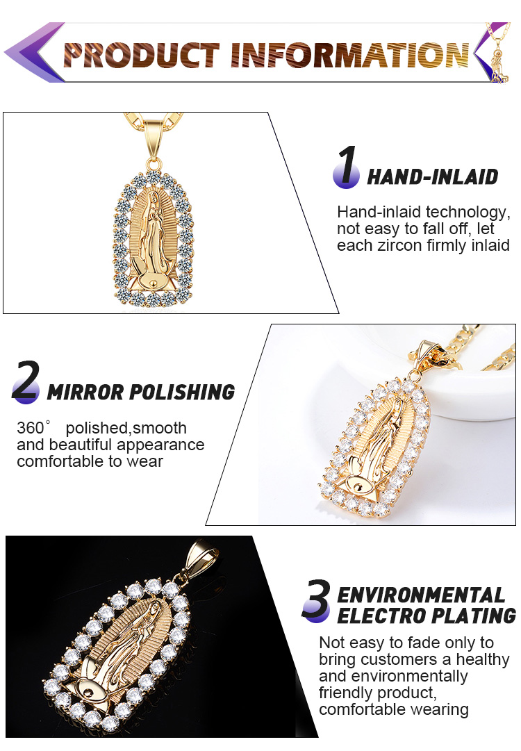 Wholesale Custom Zircon Vintage Jesus Pendant Necklace Jewellery Pendant