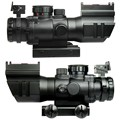 4X32 Tactical Rifle Scope W Tri Illuminated Chevron Reticle Fiber Optic Sight Scope Rifle Airsoft Hunting