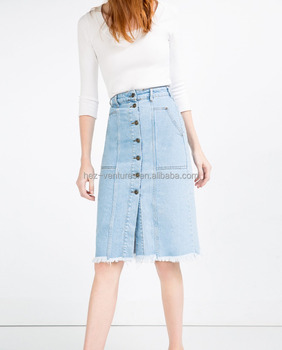 Fashion Knee Length Women Denim Skirts Button Fly Long Skirt Hot Girls