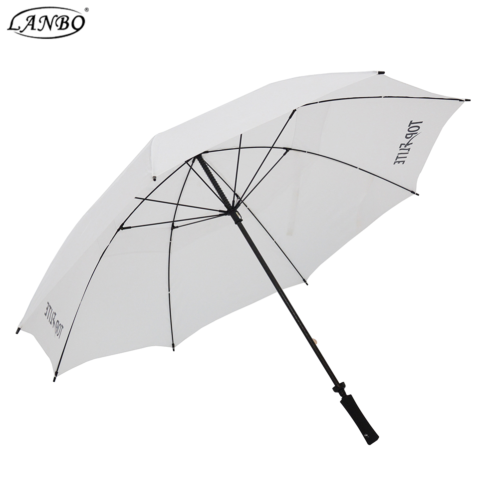 Made in China cheap white umnbrella windproof golf umbrella with logo printing