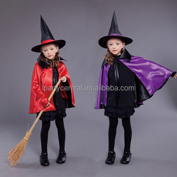 hot sale witch costume cap and hat set for kids halloween party decorations LP1326