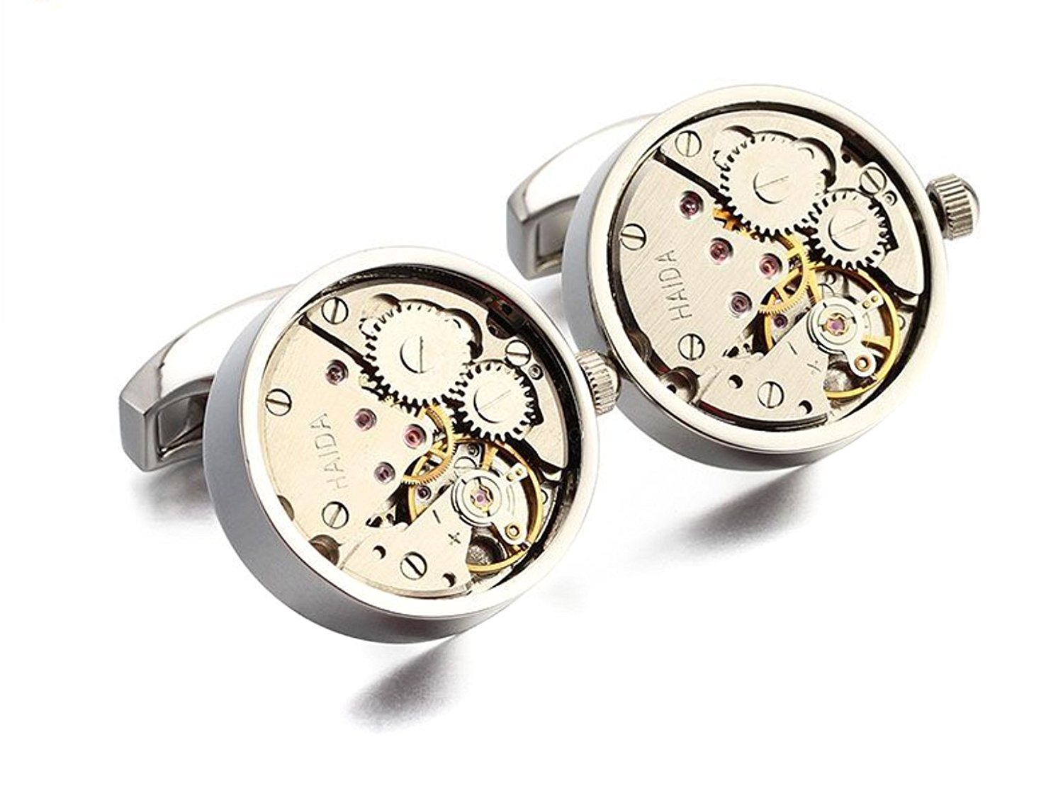 Apex Skeleton Watch Mens Cufflinks | Features Gears, Levers, and Jewels to Provide the Apperance of an Open Faced Mechanial Watch | Available in Silver and Rose-Gold | Luxury Feel, Affordable Price
