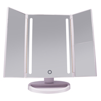 Compact Tri fold LED Makeup Mirror desktop Vanity Mirror With Lights Portable Lighted Cosmetic Mirror