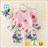 New stylish elegant colorful long sleeve korea summer fashion dress 2015 with floral patterns