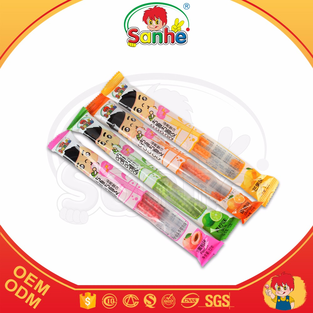 Straw packaging mini fruity jelly candy beans