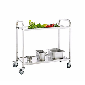 Factory price fully Stainless Steel Two Tiers metal kitchen service utility cart tea serving trolley