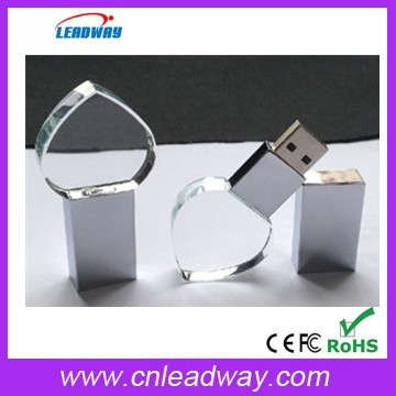 3D laser engraving logo crystal heart usb with led light(128MB-32GB)