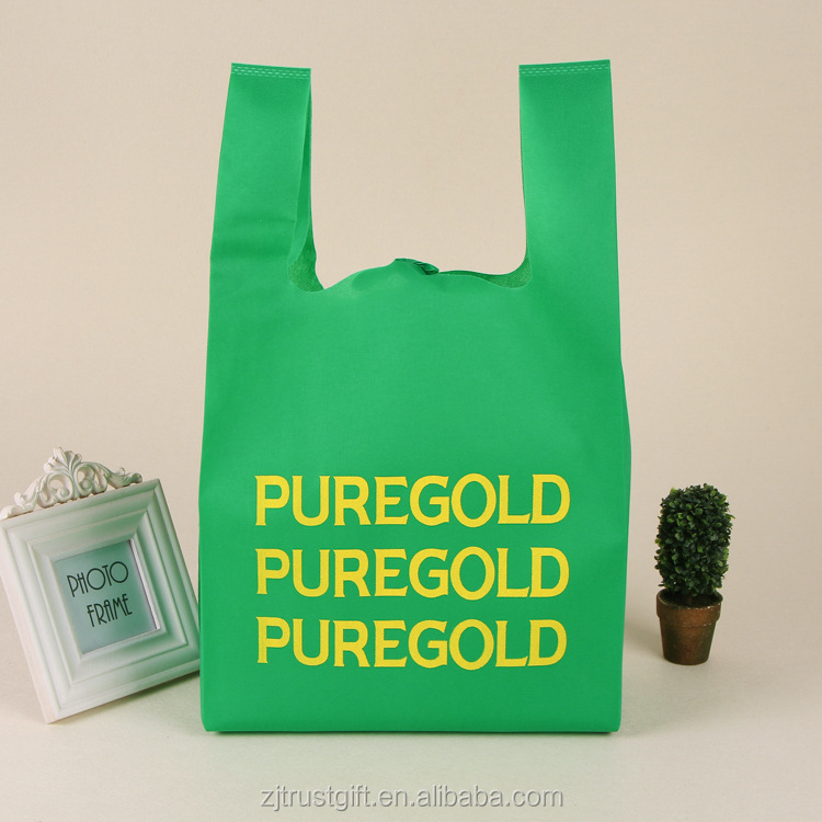 Hot selling customized logo Non woven Recyclable vest shape t-shirt shopping bag for kenya
