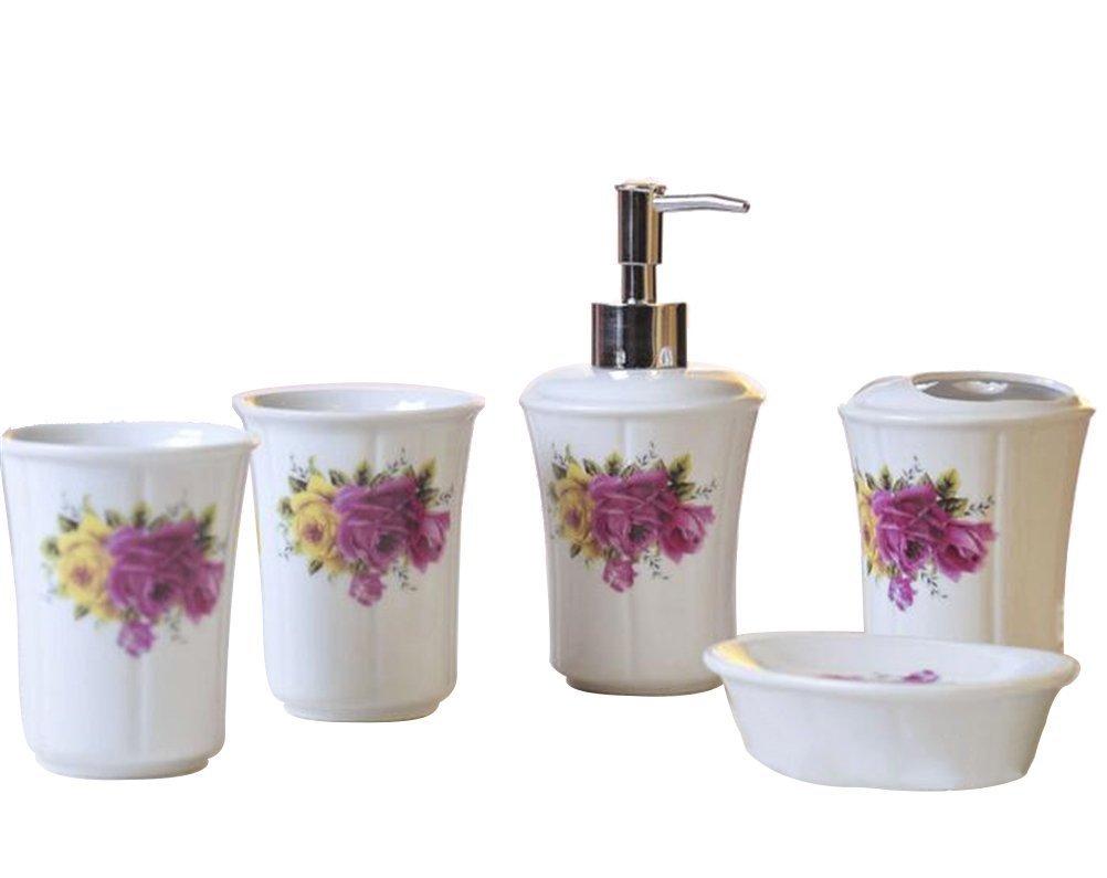 Buy Ceramic Bathroom 5 Pieces Set Purple Rose Bathroom Accessories ...