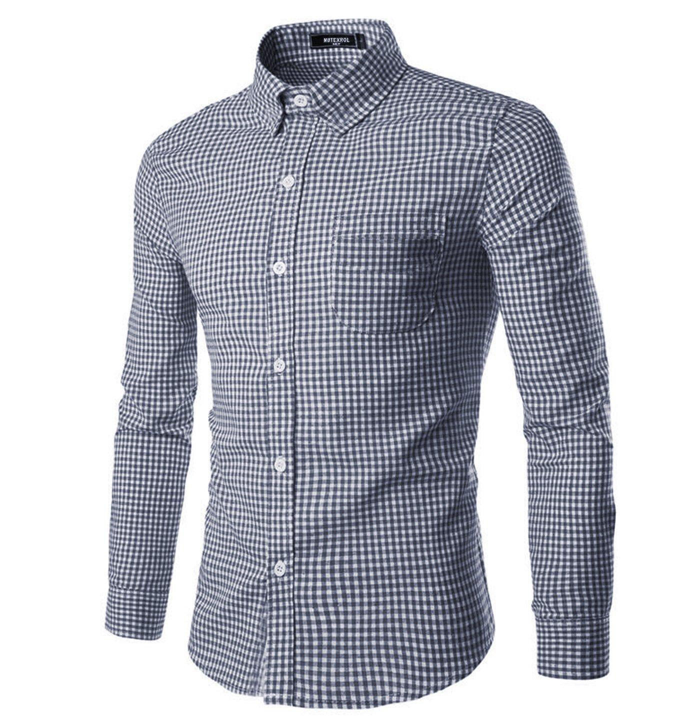 0202a96d Get Quotations · NUTEXROL Men Plaid Cotton Casual Slim Fit Long Sleeve  Button Down Dress Shirts