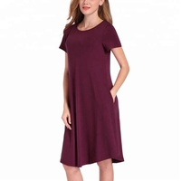 Basic Jersey Women causal Shirt Dress Short Sleeve Blank T-shirt Dress