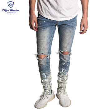2019 New Arrival Fashion Slim Fit Damaged Men's Painting Jeans