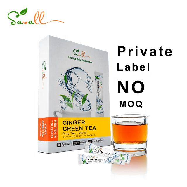 Savall Free sample organic instant tea powder herbal ginger tea extract Ginger Green tea for slimming and fighting cold