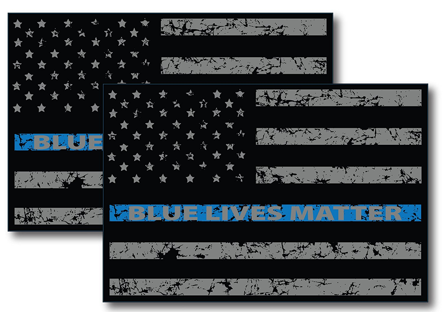 Thin Blue Line Distressed American Flag Car Magnet Blue Lives Matter For Car Truck SUV Heavy Duty Waterproof 2 Pack -In Support of Police and Law Enforcement Officers
