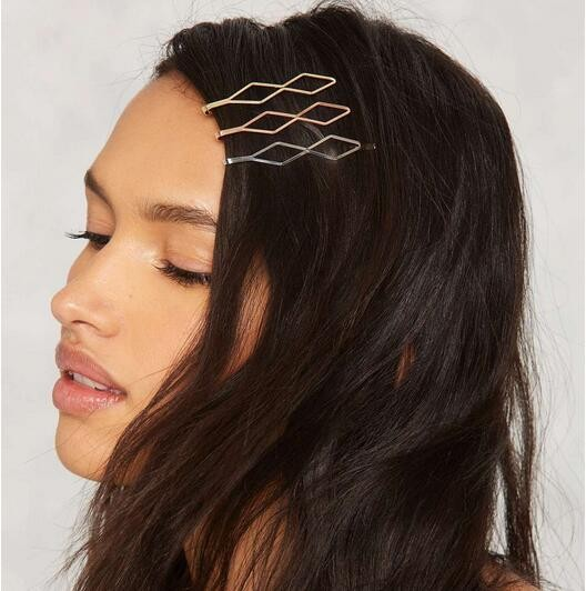 Gold/ Silver Color Metal Square Hairpin Girls' <strong>Hair</strong> Clips Women Fashion <strong>Hair</strong> <strong>Accessories</strong>