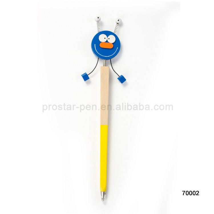 Wholesale wood cartoon pen with square design and toy top used for promotion