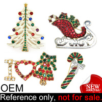 Wholesale decorative custom cheap jewelry crystal tree christmas brooch