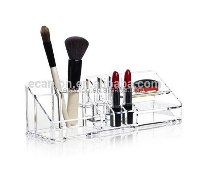 girl's clear mac makeup brush organizer/display racks
