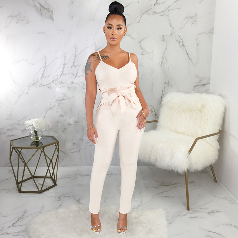 trendy summer pure color jumpsuit  for women strap sexy jumpsuits club wear