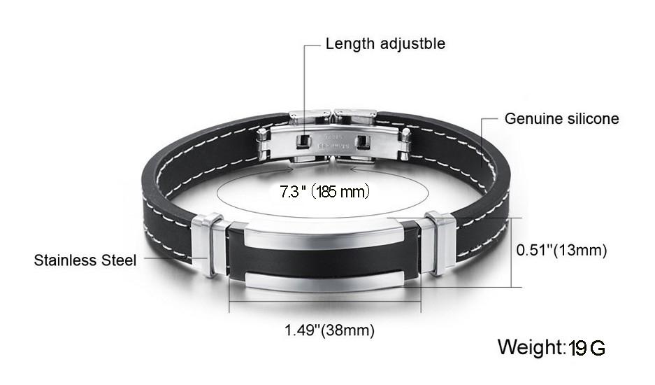 Верхний спорт силикон браслет смешать металл нержавеющая сталь серебро браслет мужчины регулируемый длина ювелирные изделия
