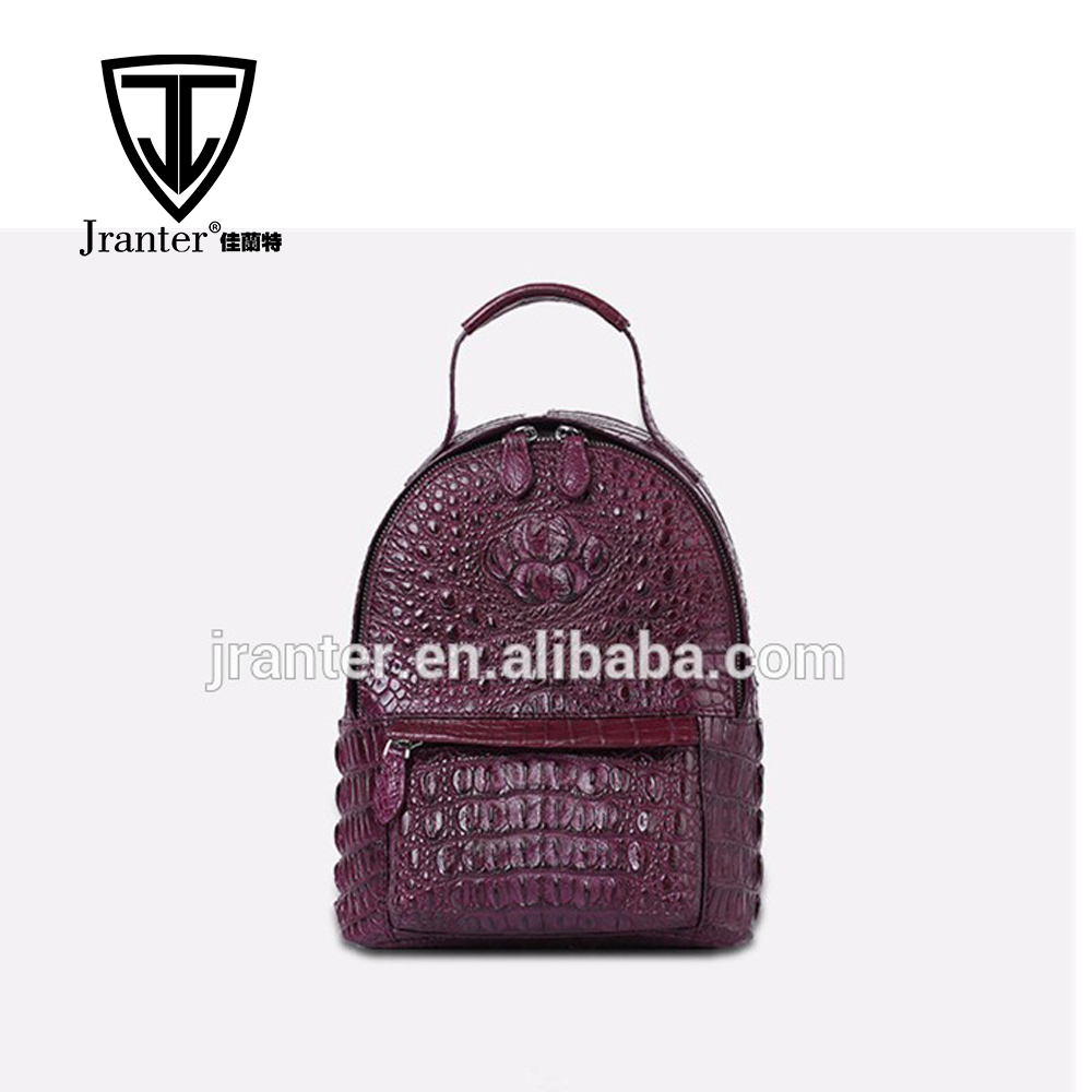 Handmade Genuine Crocodile Backpack Bag Custom Two Sided Shoulder Bag