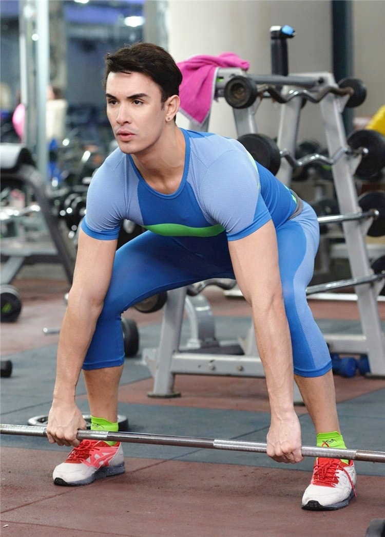 Men tight Pants Slim Compression Elastic Gymnastic Bicycling Swimming Pants 11