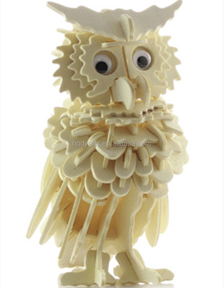 Hot Sale New Design and High Quality Owl Shaped 3D Wooden Puzzle Education <strong>Toys</strong>