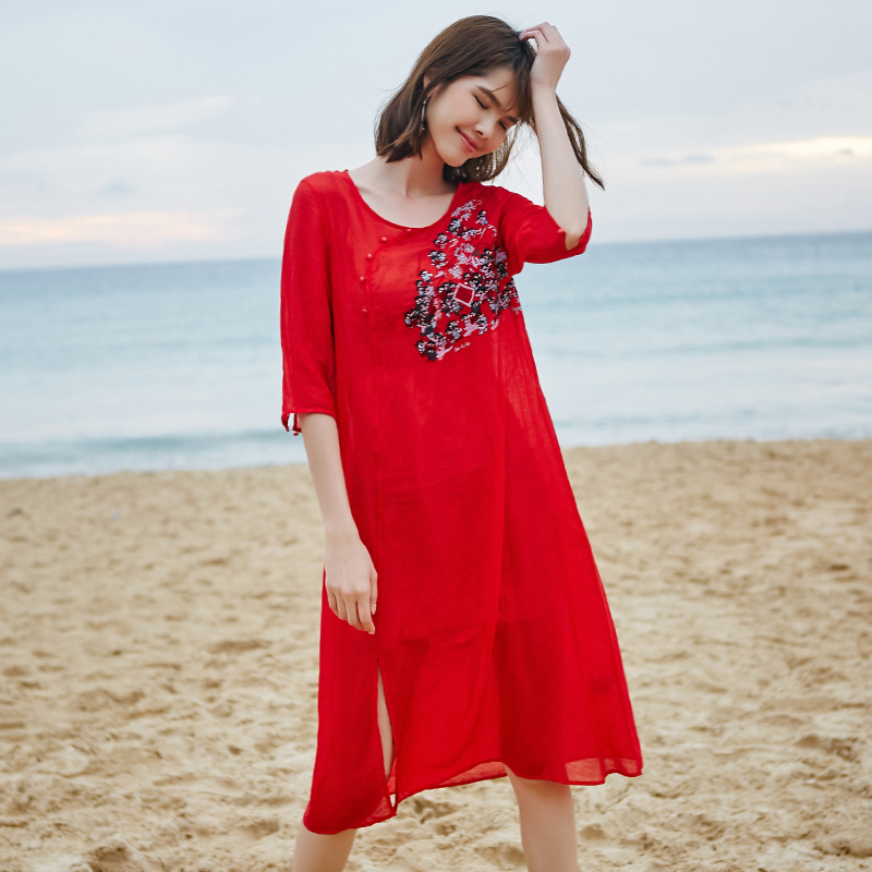 Summer Fashion Red Ramie Silk Embroidery Silk Dresses For Women