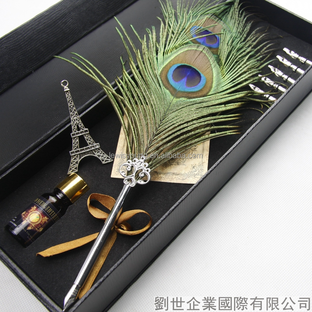 Customized Green Feather Pen,feather quill pen