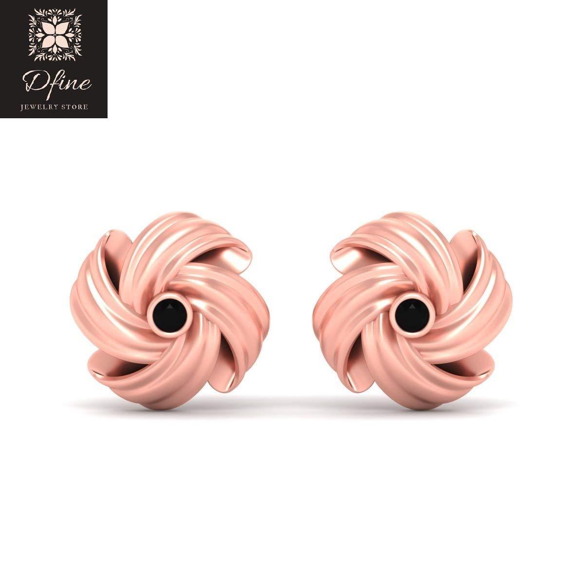 Black Diamond Knot Cufflinks Rose Gold Fn 925 Silver Wedding Accessories
